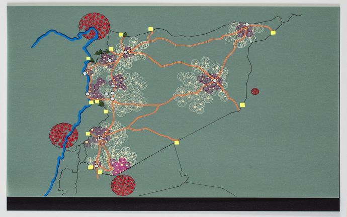 ©  Tiffany Chung, UNHCR Red Dot series tracking the Syrian Humanitarian Crisis, 2012